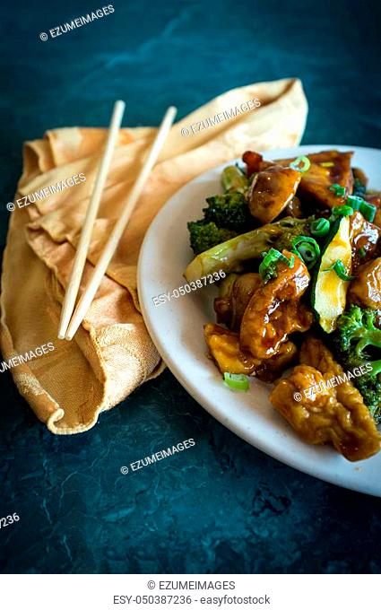 Buddhas delight vegetarian chinese food dish with fried bean curd