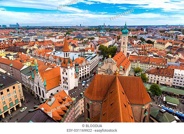Aerial view of Munich in a summer day in Germany