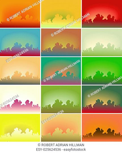 Set of editable vector background illustration of colorful sky variations