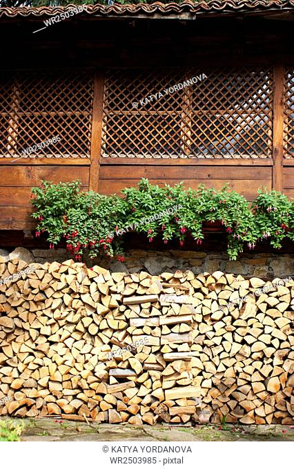 Stacked of split firewood
