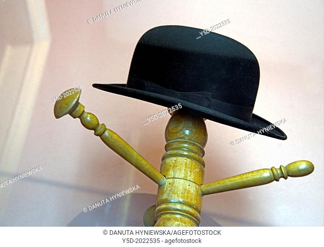 famous Magritte hat, appearing in his most symbolic panitings, interior of Rene Magritte house in Brussels, 135 rue Esseghem