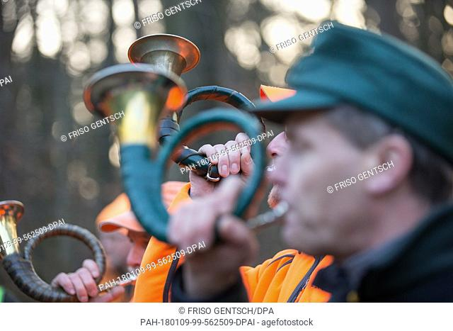 Hunters blow the hunting horn at the beginning of a driven hunt across a forest near the motorway A2 in Bielefeld, Germany, 09 January 2018