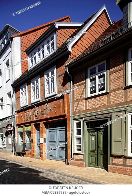 Shelf town with half-timbered houses, Schwerin, Mecklenburg-West Pomerania, Germany, Europe