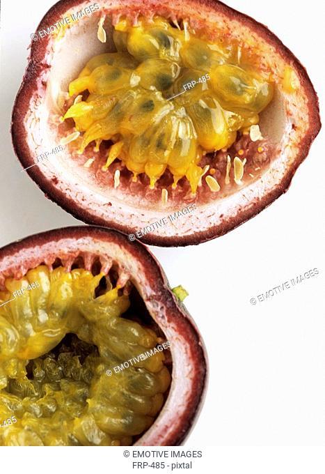 Sliced passion fruit passiflora edulis