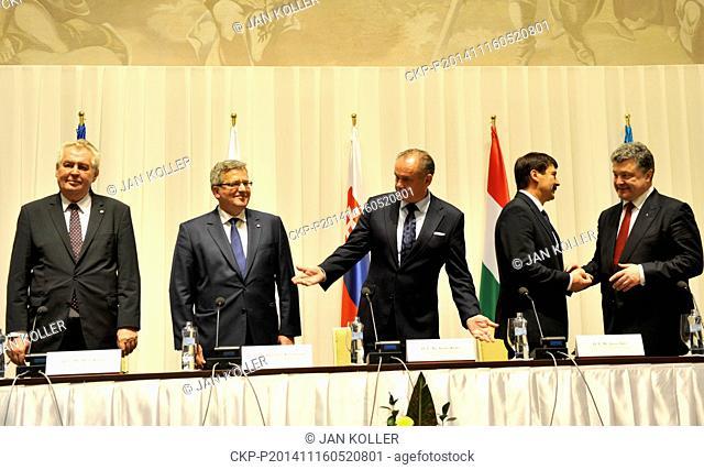From left President of Czech Republic Milos Zeman, Bronislaw Komorowski, President of Poland, Andrej Kiska, Slovakian President, Janos Ader