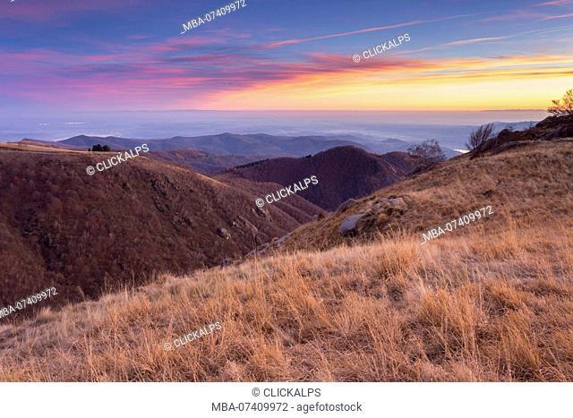 Sunset on the top of the Mottarone mountain. Stresa, Verbano Cusio Ossola, Piedmont, Italy