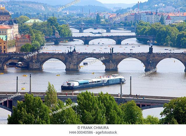 Czech Republic, Prague - Bridges over Vltava River and Boat Traffic