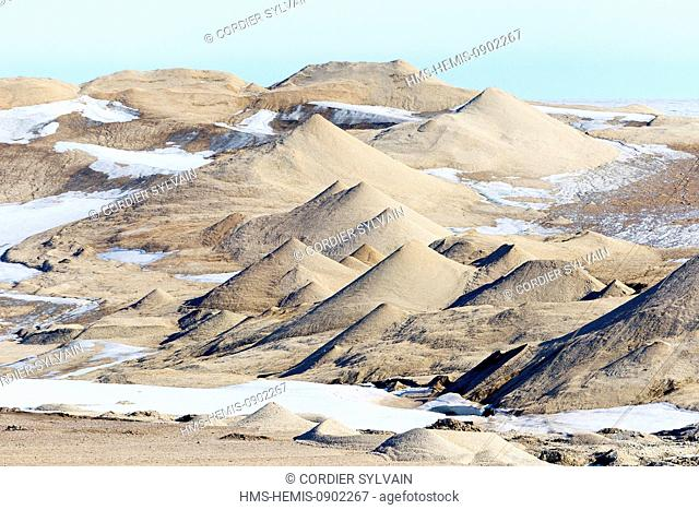 Norway, Svalbard, Nordaustlandet, geological formation due to the wind action