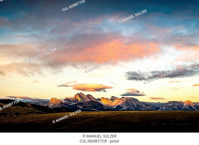 Schlern-Rosengarten on Seiser Alm, Dolomites, Siusi, Trentino-Alto Adige, Italy