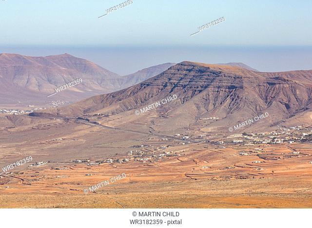 View from Mirador De Morro Velosa on the volcanic island of Fuerteventura, Canary Islands, Spain, Atlantic, Europe