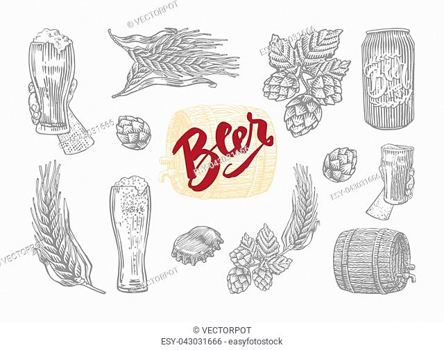 Gray isolated in engrave style beer icon set with elements of which prepares beer vector illustration