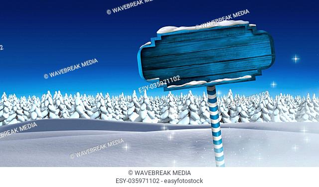 Wooden signpost in Christmas Winter landscape