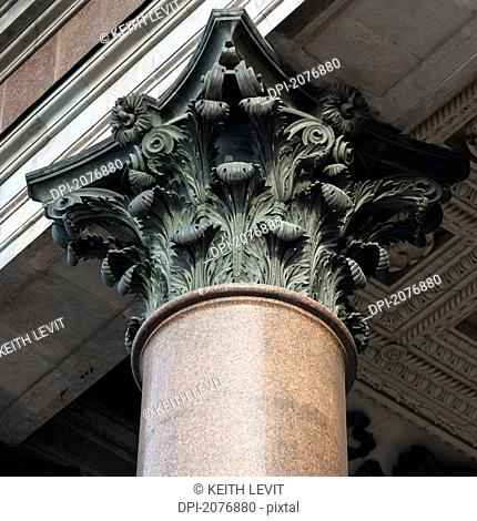 Ornate design at the top of a column at saint isaac's cathedral, st. petersburg russia
