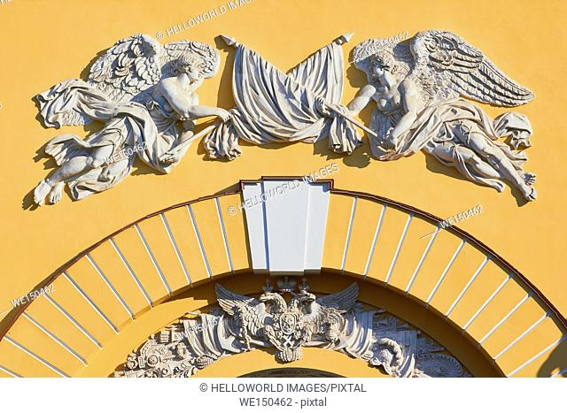 Decorative carvings on Admiralty building, competed in 1823 by Adrian Zakharov, St Petersburg, Russia