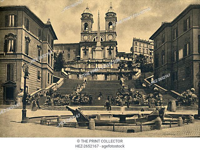 'Roma - Church of the Trinita dei Monti', 1910. Steps of the Piazza di Spagna - Fountain of the Barcaccia. The church of the Santissima Trinita dei Monti