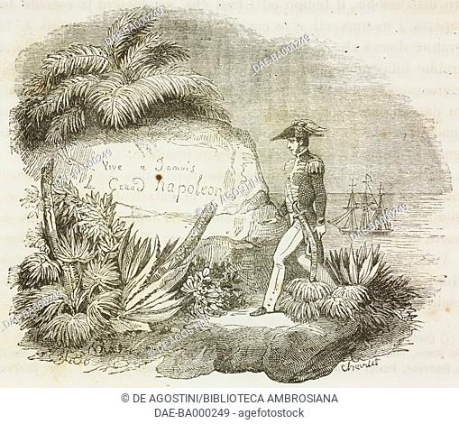 An English captain coming across the engraving on a rock on Ascension Island which reads Napoleon the Great will live forever