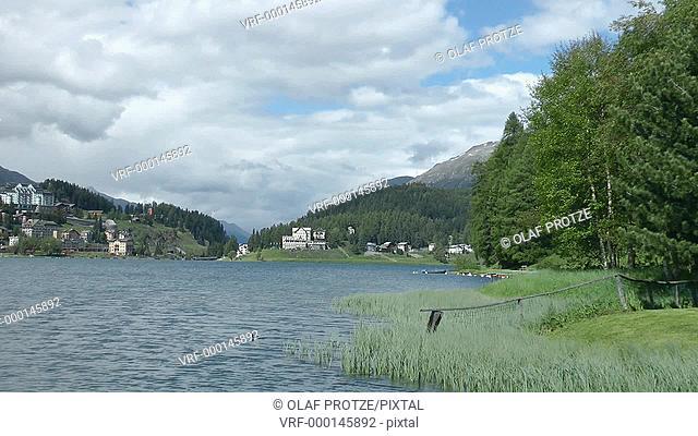View over Lake Lake St.Moritz at St.Moritz Dorf, Engadin, Switzerland