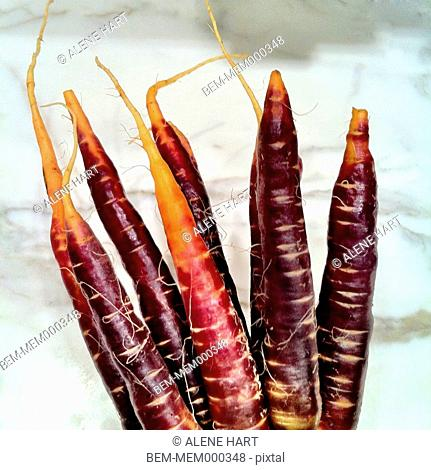 Close up of purple carrots