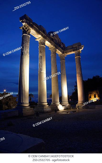 Temple of Apollo by night, ancient city of Pamphylia in Side, Turkish Riviera, Antalya Region, Turkey, Europe