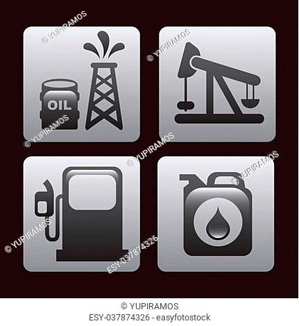 fuel icons over black background vector illustration