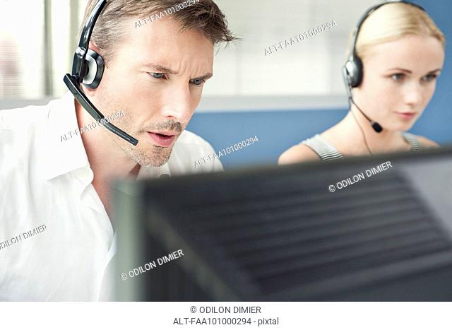 Sales associates working in call center