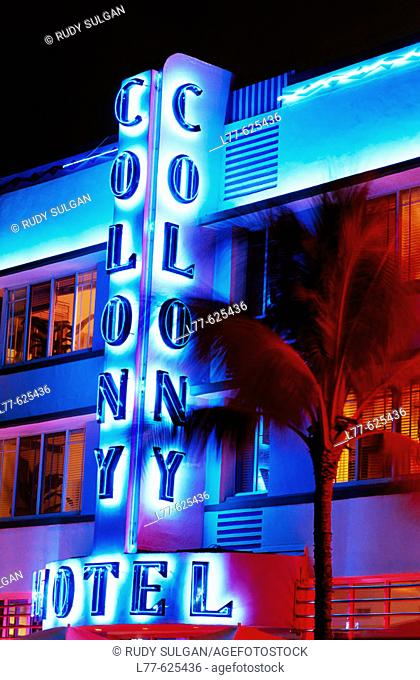 Colony Hotel, art deco district, South Beach, Miami Beach. Florida, USA