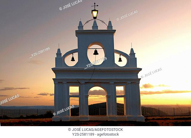 Belltower in the «Peña de Arias Montano», Alajar, Huelva province, Region of Andalusia, Spain, Europe