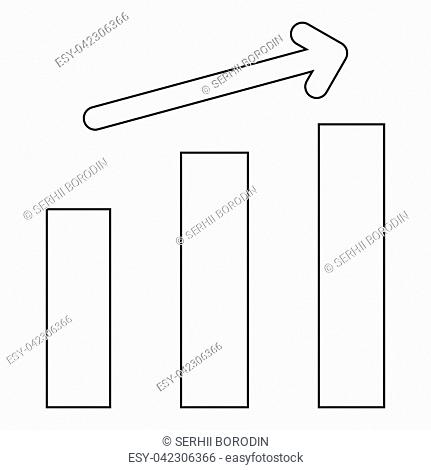 Growth chart the black color icon vector illustration