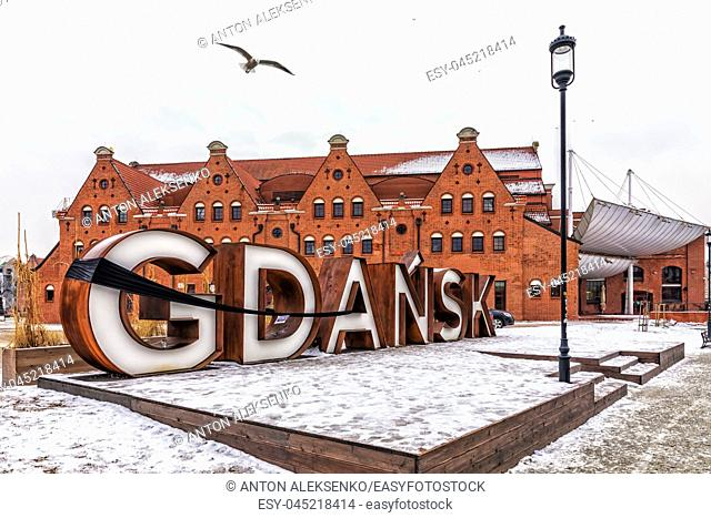 Gdansk,Poland - January 30, 2019: City sign with a mourning ribbon, winter view