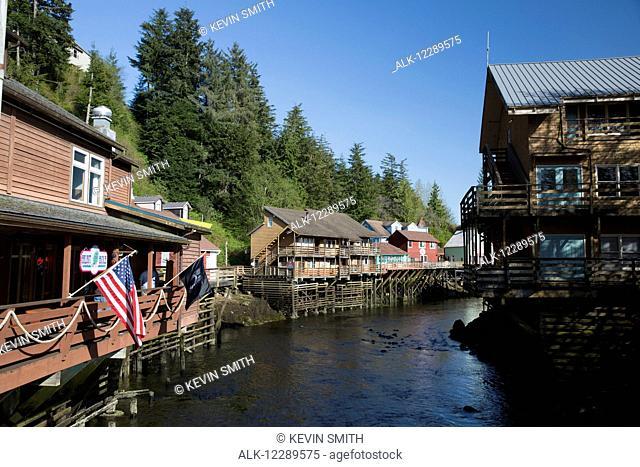 Tourist shops and homes along Creek Street in downtown Ketchikan, Southeast Alaska, USA, Spring