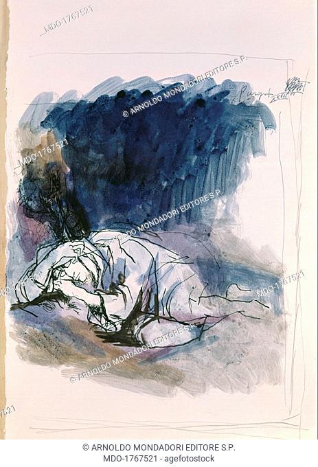 Dante felt asleep. Illustration for the Divine Commedy (Illustrazione per la divina commedia), by Renato Guttuso, 1958 - 1961, 20th Century, ink on paper