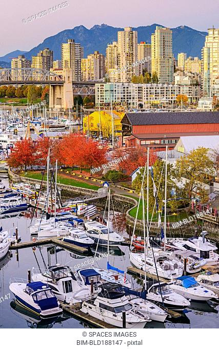 High angle view of boats docked in Vancouver harbor, British Columbia, Canada