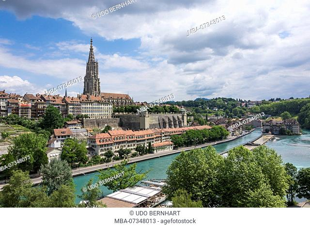 View on Bern old town with Aare loop and minster, Bern, canton Bern, Switzerland