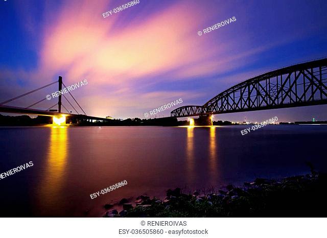 Beautiful view of the Rhein waterside in Duisburg, Germany