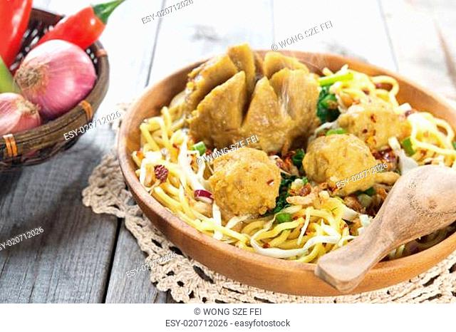 Traditional Indonesian meatball noodles