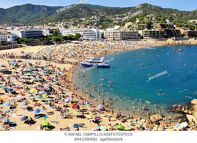 Tossa de Mar beach, located on the Costa Brava, Girona Province. Catalonia. Spain