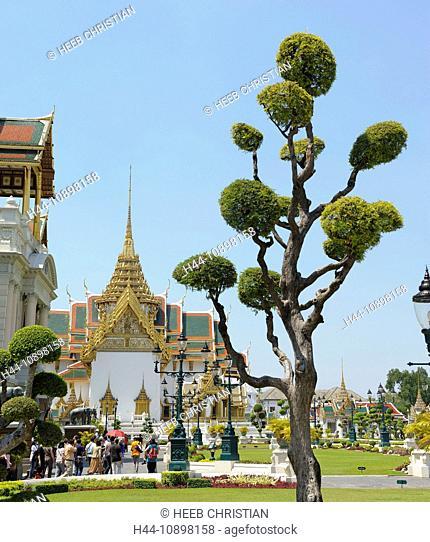 Dusit, Maha, Prasat, Hall, Grand Palace, Old, City, town, Bangkok, Thailand, Asia, trees