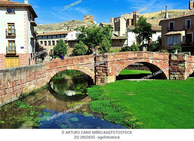 The Old Bridge, romanesque, XIIIth century, over the river Gallo. Molina de Aragón, Guadalajara province, Spain