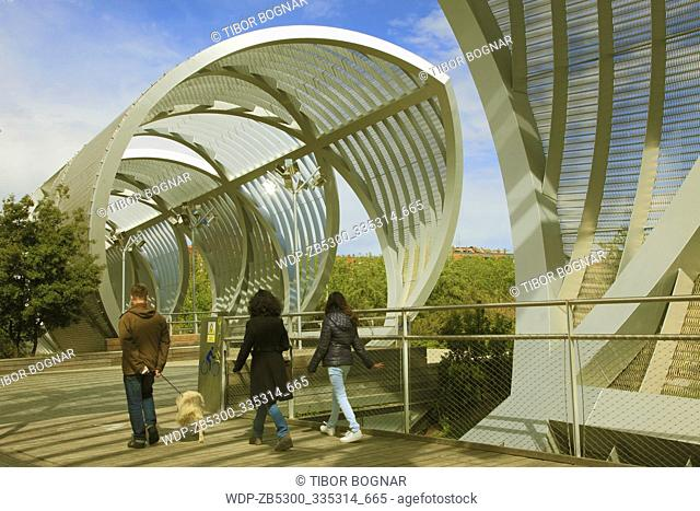 Spain, Madrid, Arganzuela Bridge, Dominique Perrault architect, people