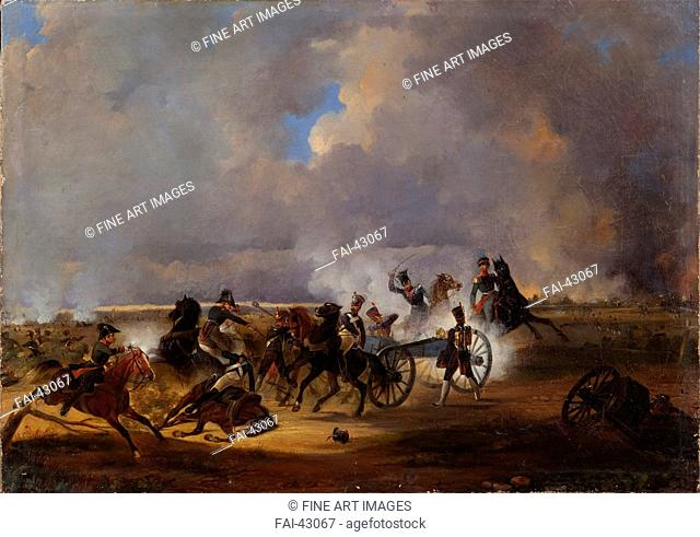 The Battle of Koenigswartha on May 19, 1813 by Kotzebue, Alexander von (1815-1889)/Oil on canvas/History painting/1840/Russia/State History Museum