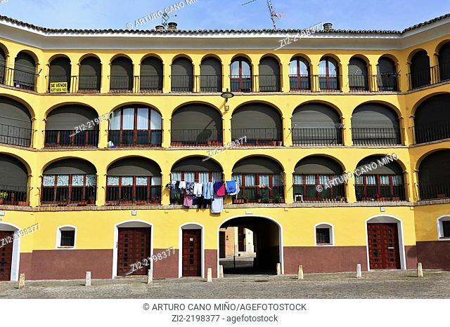 Old bullring, XVIIIth century, nowadays housings, Tarazona, Zaragoza province, Spain