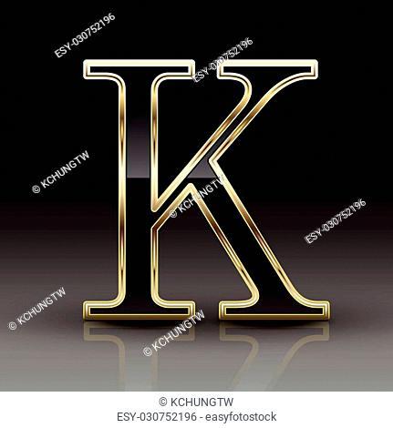3d metallic black letter K isolated on black background