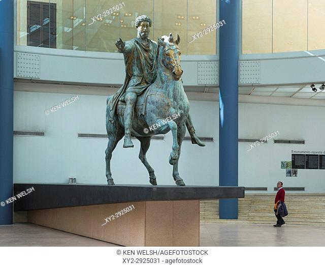 Rome, Italy. The Capitoline Museum. Equestrian statue of Marcus Aurelius. The Historic Centre of Rome is a UNESCO World Heritage Site