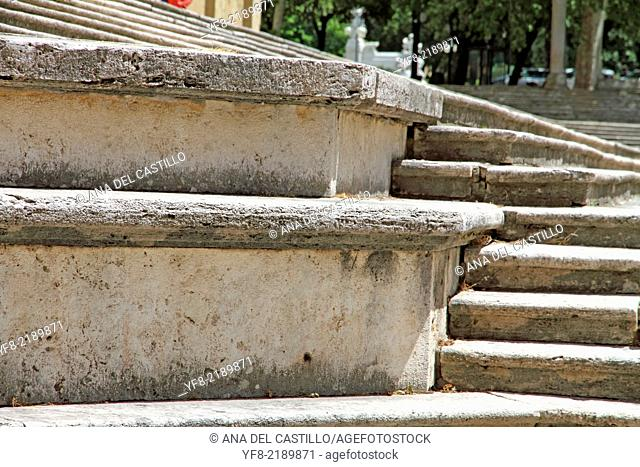 Stairs of the Duomo cathedral in Arezzo Tuscany Italy