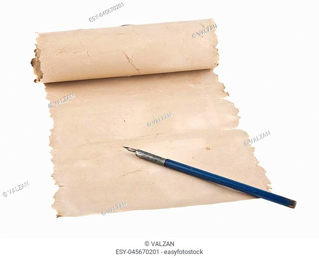 old paper and old pen isolated on a white background