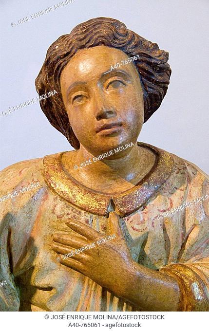 Paraguay. Jesuits Reductions. Museum of Reduction of San Ignacio Guazu ( XVII-XVIII centurys ). Polychrome wooden images of a Angel