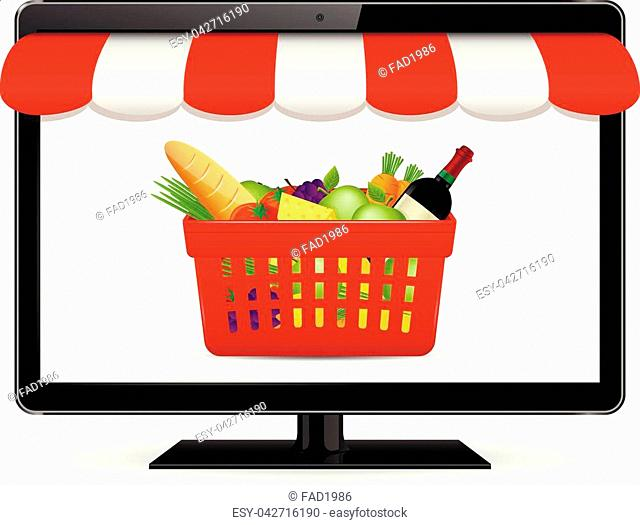 Vector Online shopping concept illustration. Online grocery shopping