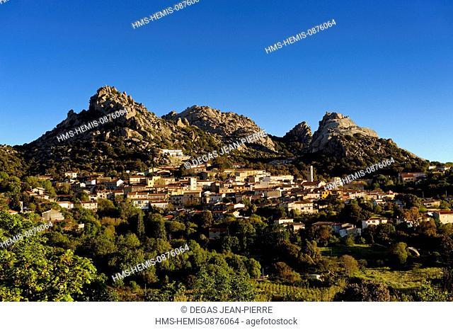 Italy, Sardinia, Olbia Tempio Province, Aggius, view of the village with the mountains of La Croce and Sozza background