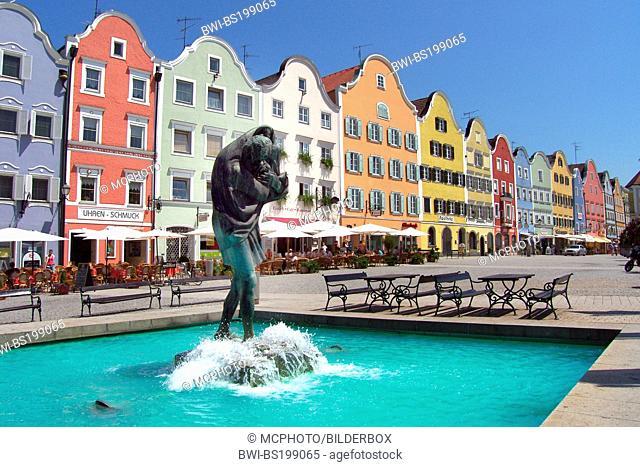 multicoloured houses at the market square of the oldtown, Austria, Upper Austria, Innviertel, Schaerding