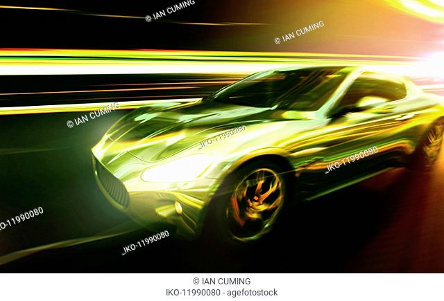 Luxury sports car moving at speed